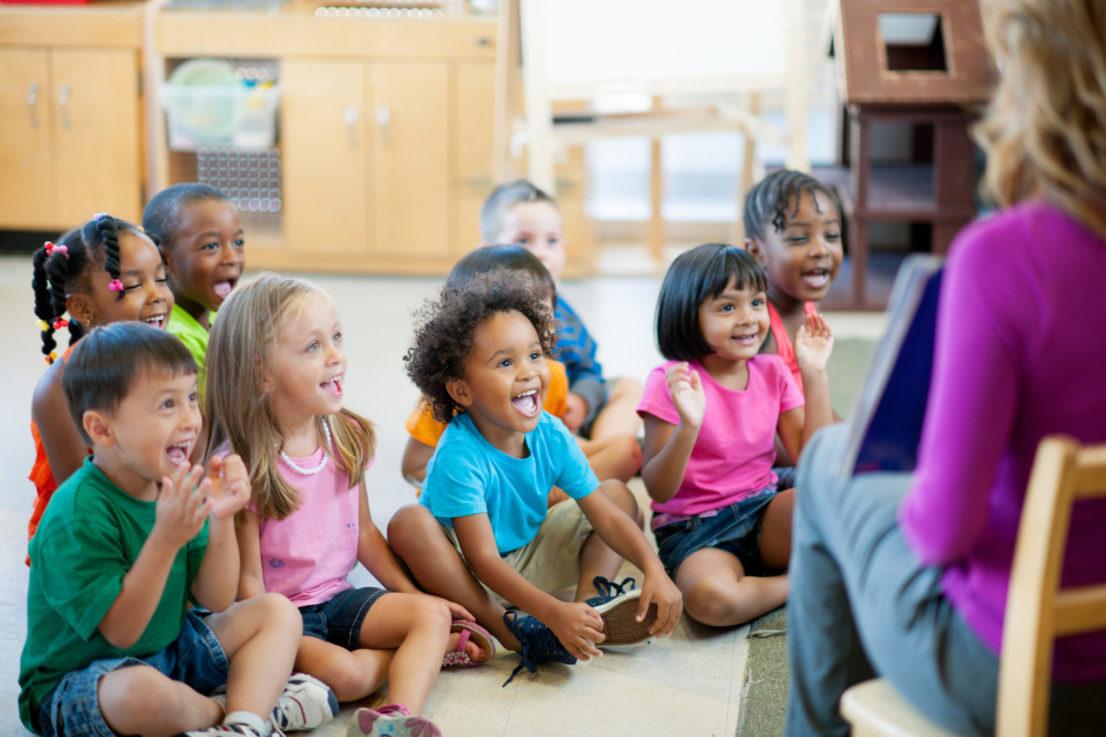 Multi ethnic group of pre-school children in a classroom.