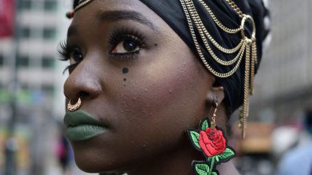 Philadelphia, PA, USA - June 23, 2018; It should be a national holiday, similar as when people dress up in flags for the Fourth of July, says Leighdy Morris, Queen of the RBG Brigade, ahead of participating in the annual Juneteenth parade in Center City Philadelphia, PA, on June 23, 2018. The Juneteenth Independence Day or Freedom Day commemorates the announcement of abolition of slavery on June 19, 1865.